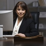 business woman in front of computer