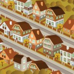 rows of homes illustration