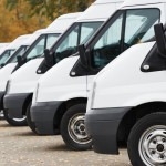 Commercial vans parked