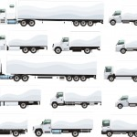 Different illustrations of semi trucks