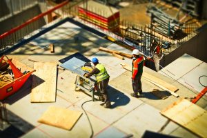 workers at construction area, independent contractor