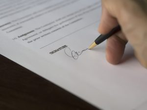 signing a document, probate