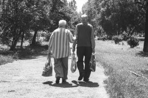 an Elder couple walking