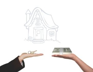 a house model, one hand with key, another hand with money