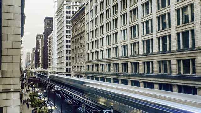 Metro is crossing downtown of Chicago