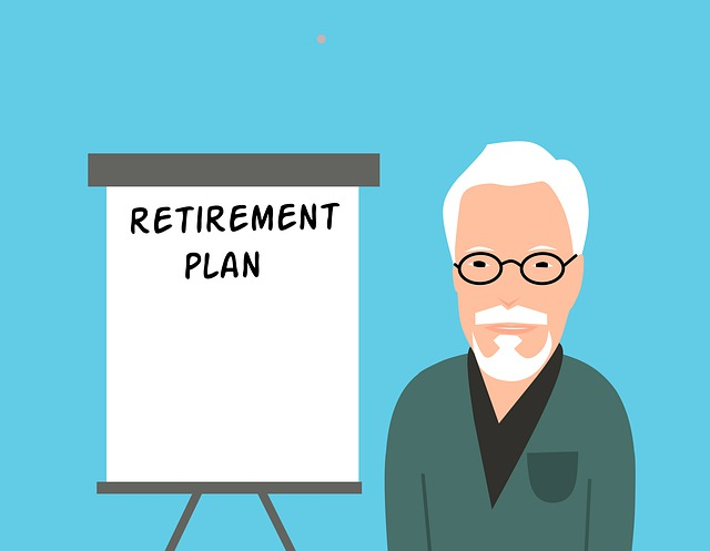 A cartoon old man with his retirement plan